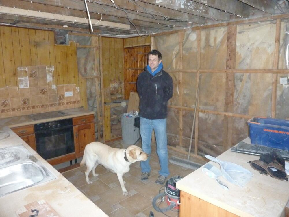 Kitchen - Work In Progress with Ross and Property Dog