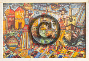photo of tile mural in sicily protected by copyright watermark.