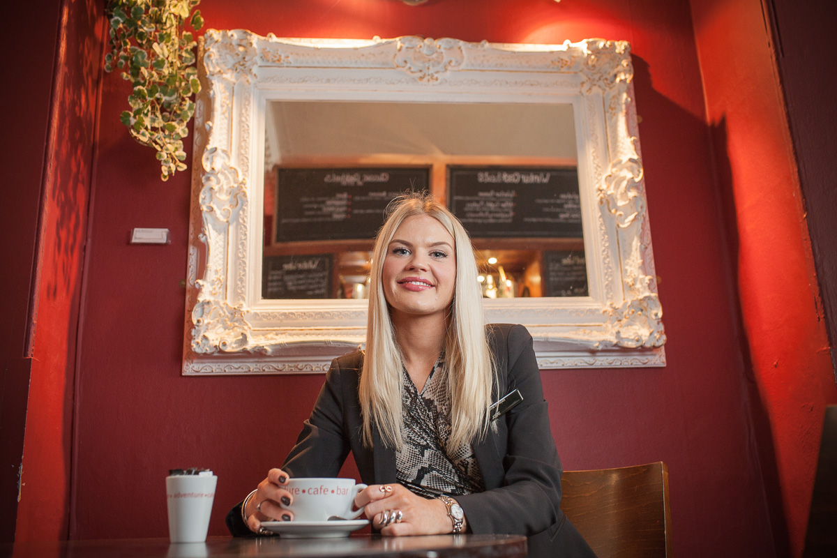 Jody Brown of Jolly's store in Bath is seated in her favourite cafe in Bath.