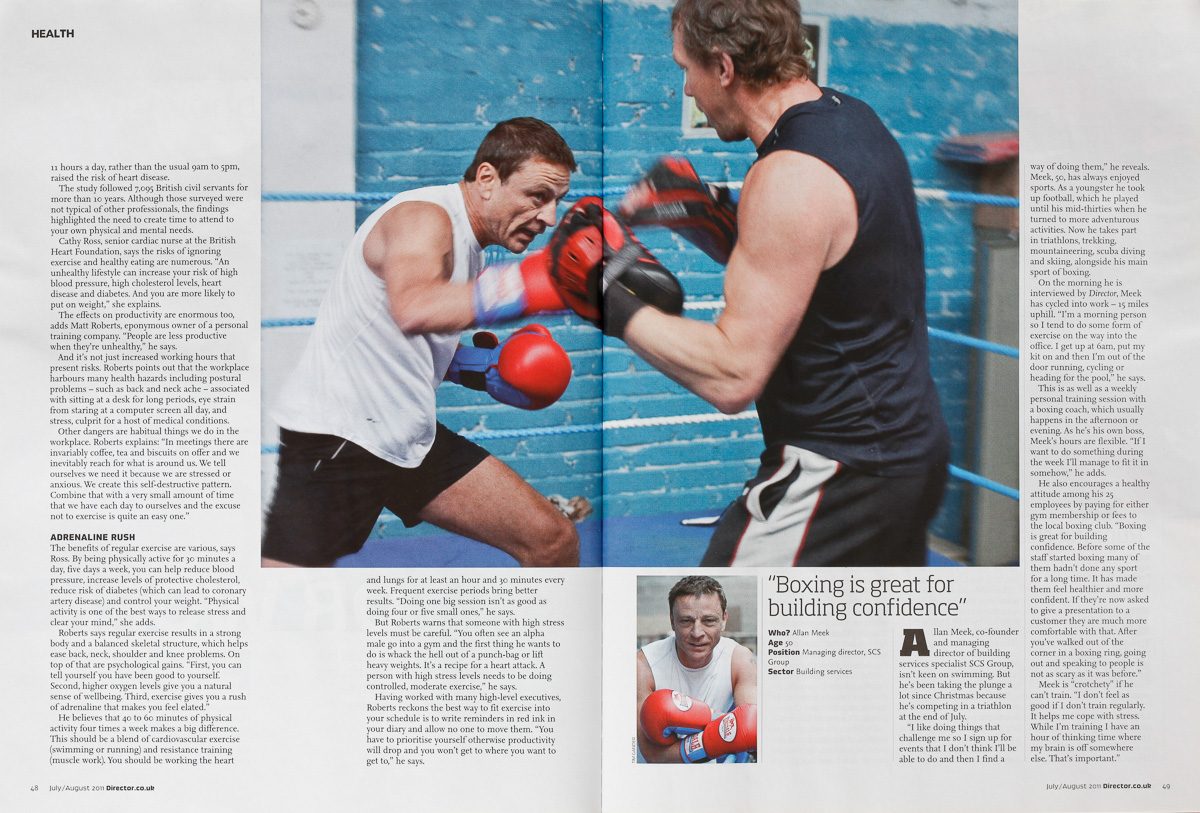 Tear sheet showing part of the final article printed in Director magazine.