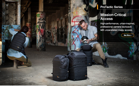 Screengrab from LowePro ProTactic camera bag mini-site showing two models in distressed urban setting taking photos.
