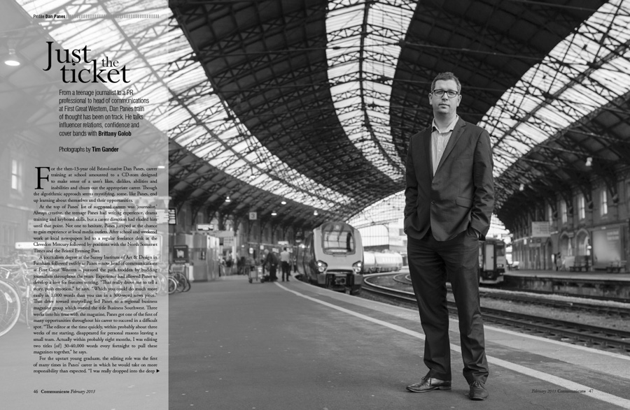 Dan Panes, director of communications for First Great Western, at Bristol Temple Meads Station, Bristol, UK
