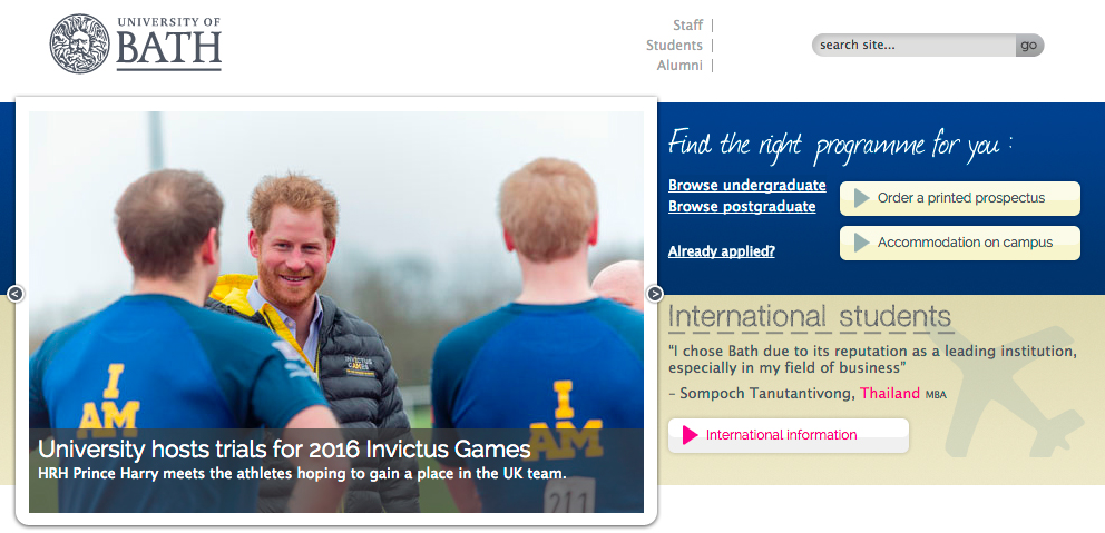 University of Bath homepage featuring the Prince Harry visit.