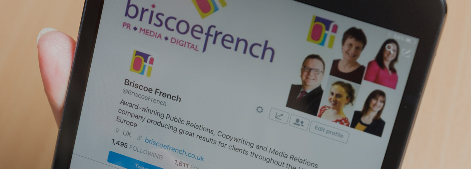 Social Media is illustrated with photo of the Briscoe French twitter feed.