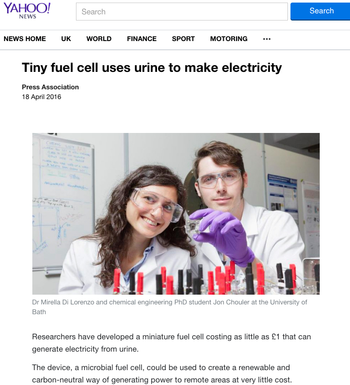 Screen grab of online use of image sent out with University of Bath press release explaining the research into urine-powered fuel cells.