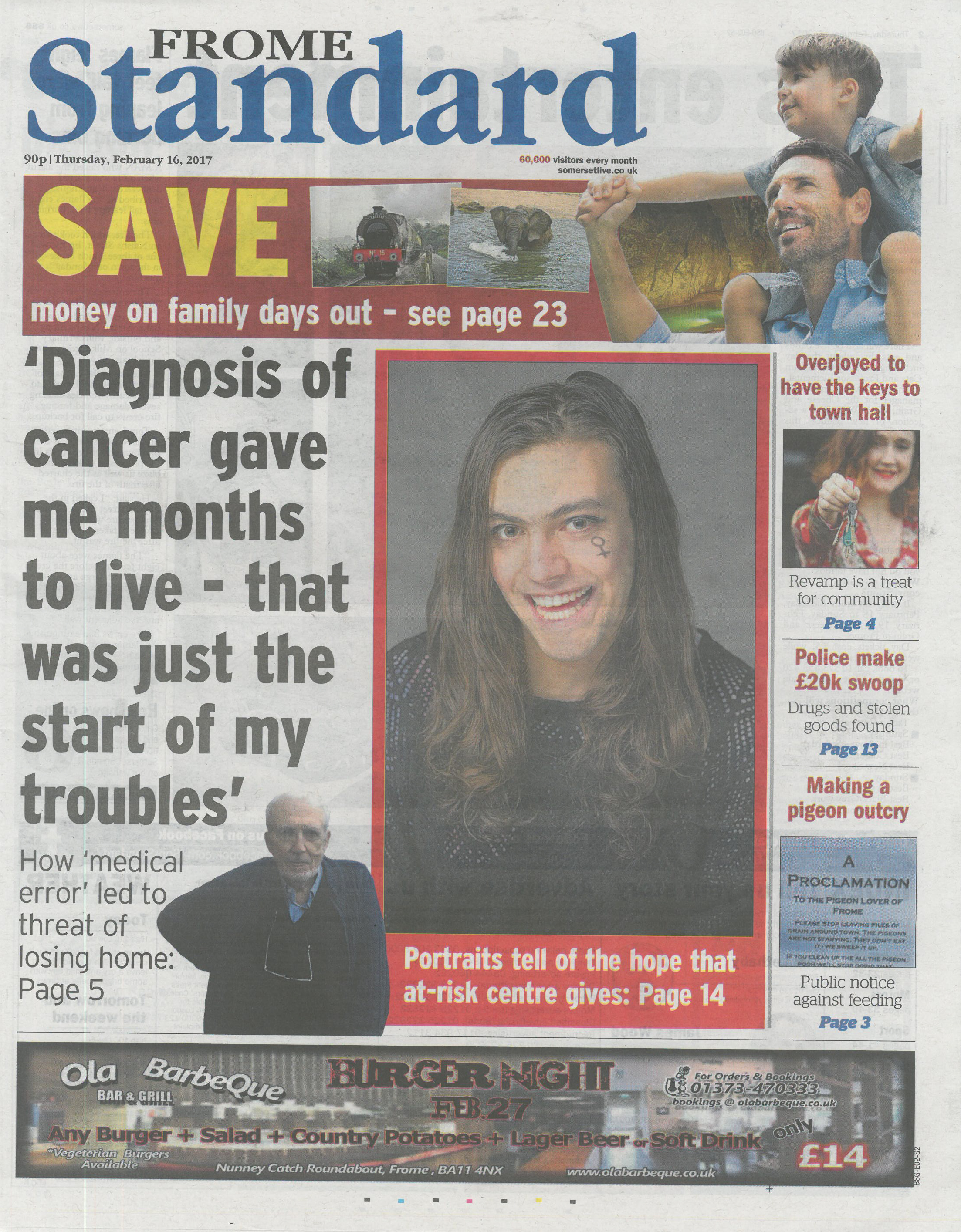 Frome Standard cover showing the portrait of Mona Vaas.