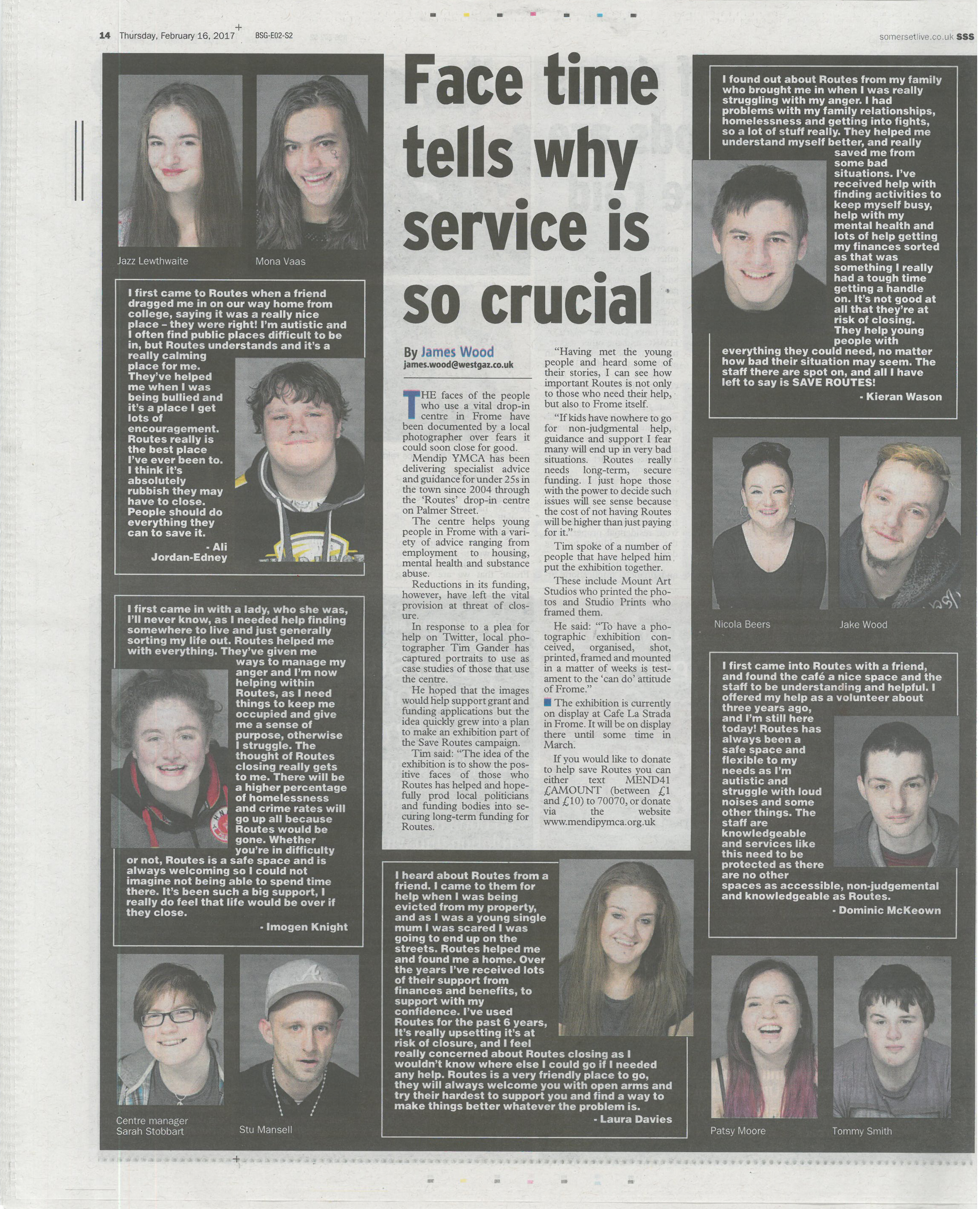 Full-page spread of photos and case studies in the Frome Standard.