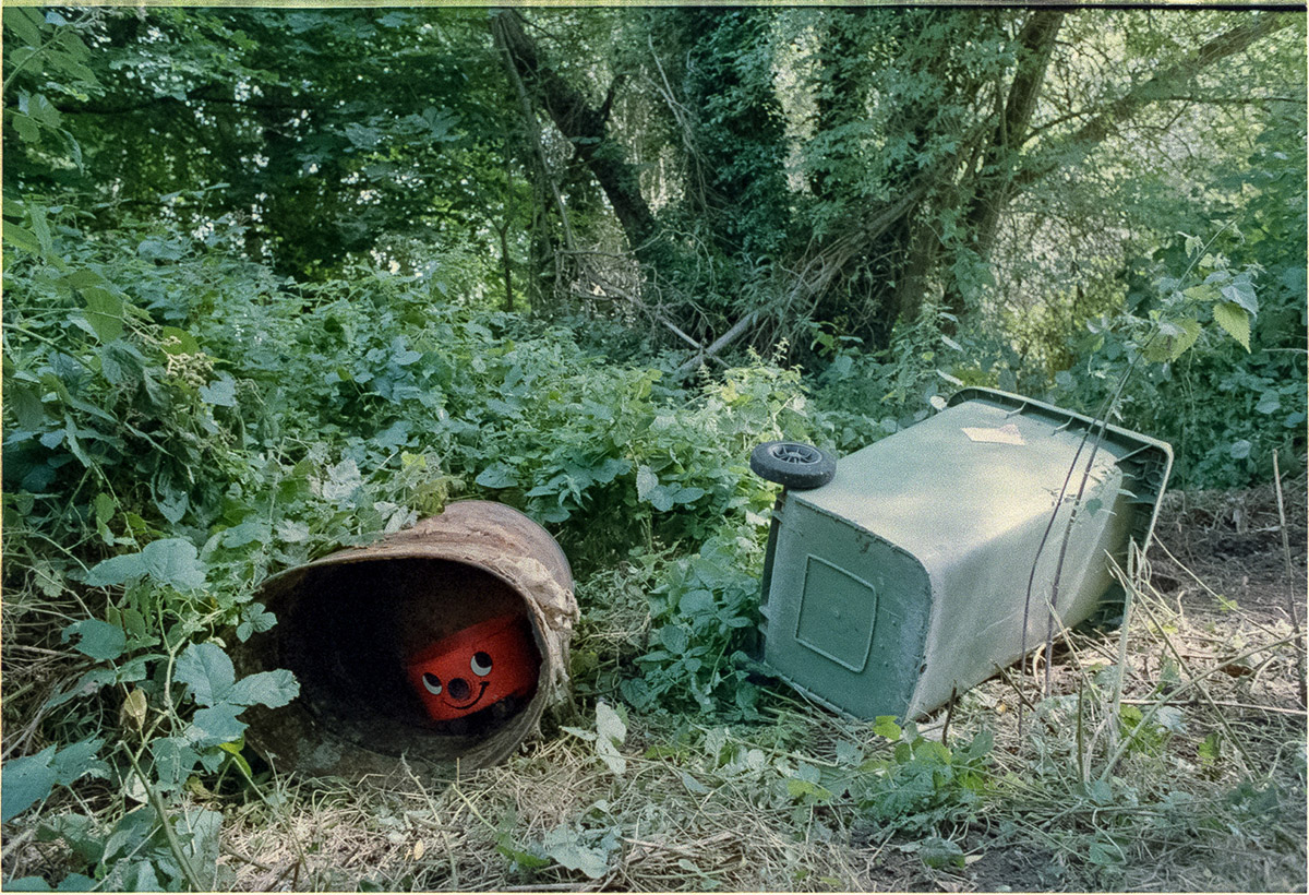 The remains of a Henry vacuum cleaner peering out from inside a rusty metal barrel which lies on its side in an area of brambles and weeds, with a green wheelie bin on its side to the right.