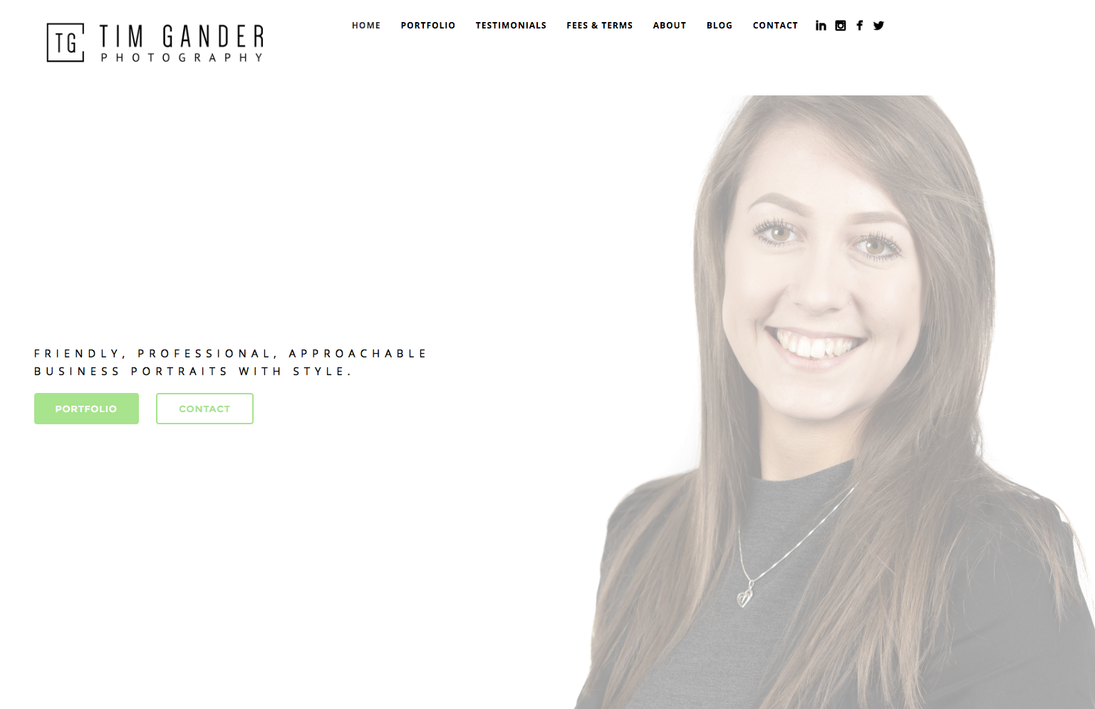 Screen grab of the Tim Gander photography home page with portrait of young business woman Hazel smiling to camera against a white background.