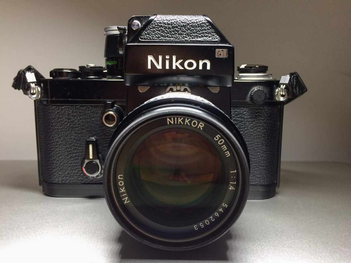 Nikon F2 camera with D-11 metering prism and 50mm f/1.4 lens.