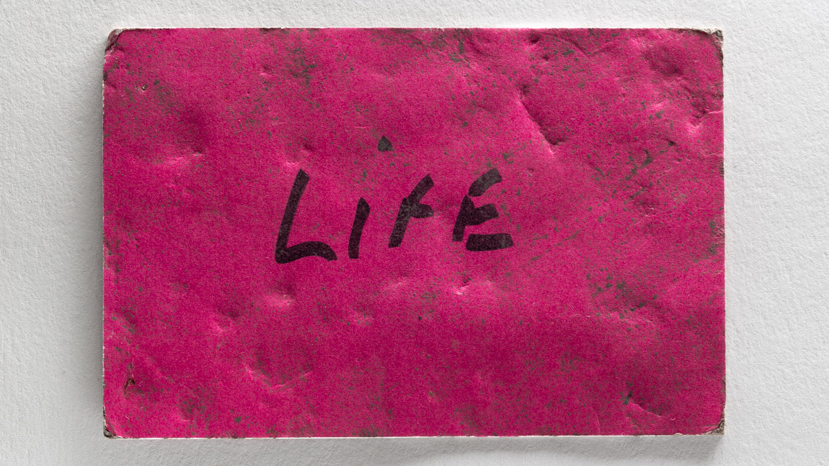 Close-up of a dirty and damaged red card with the word Life written on in marker pen.