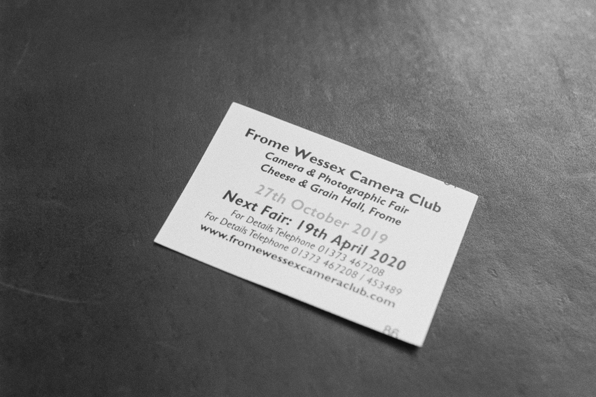 An entry ticket to the Frome Wessex Camera Club's biannual camera fair.