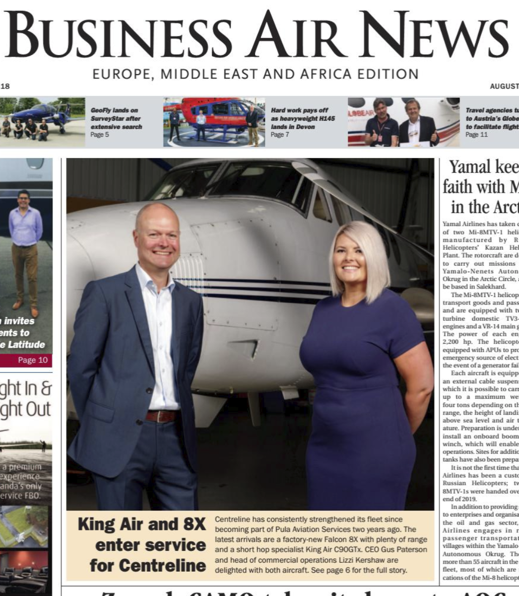 Cover of Business Air News magazine.