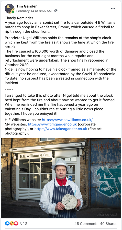 Screenshot from Facebook post about H E Williams anniversary showing Nigel Williams outside his shop with the melted shop clock.