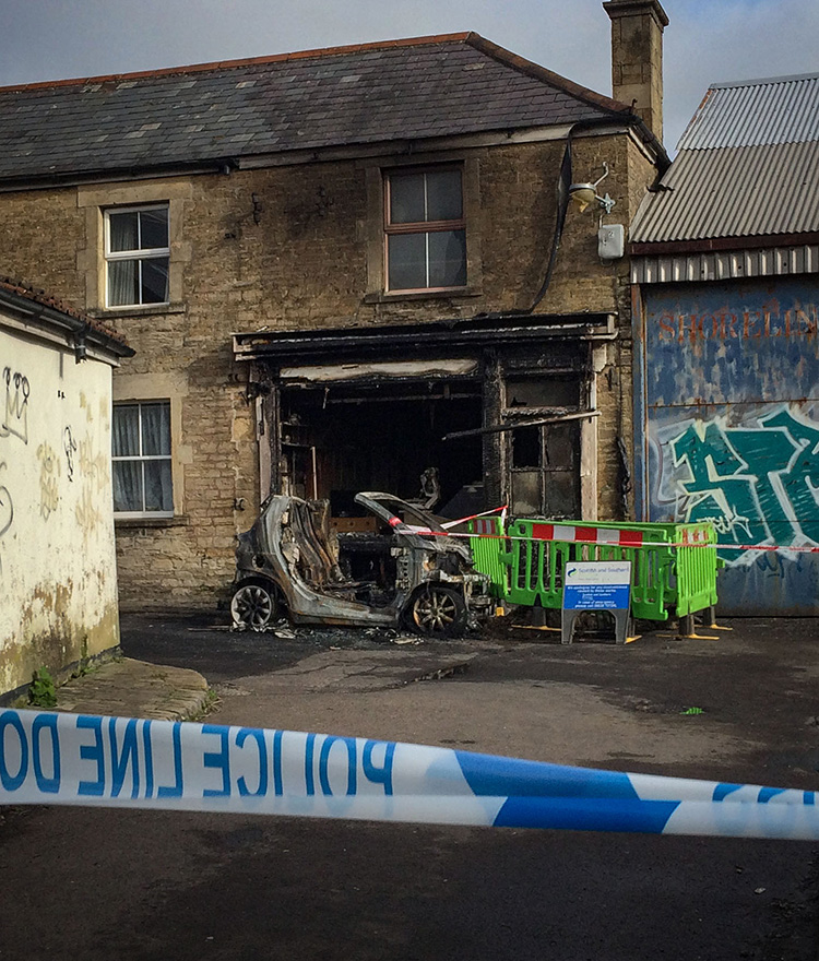 The scene of the burned out butcher's shop in Frome on the morning of February 14th 2020.
