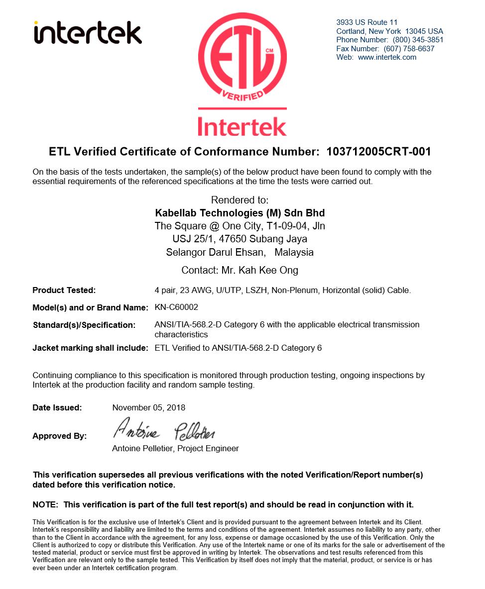 ETL Verified Certificate