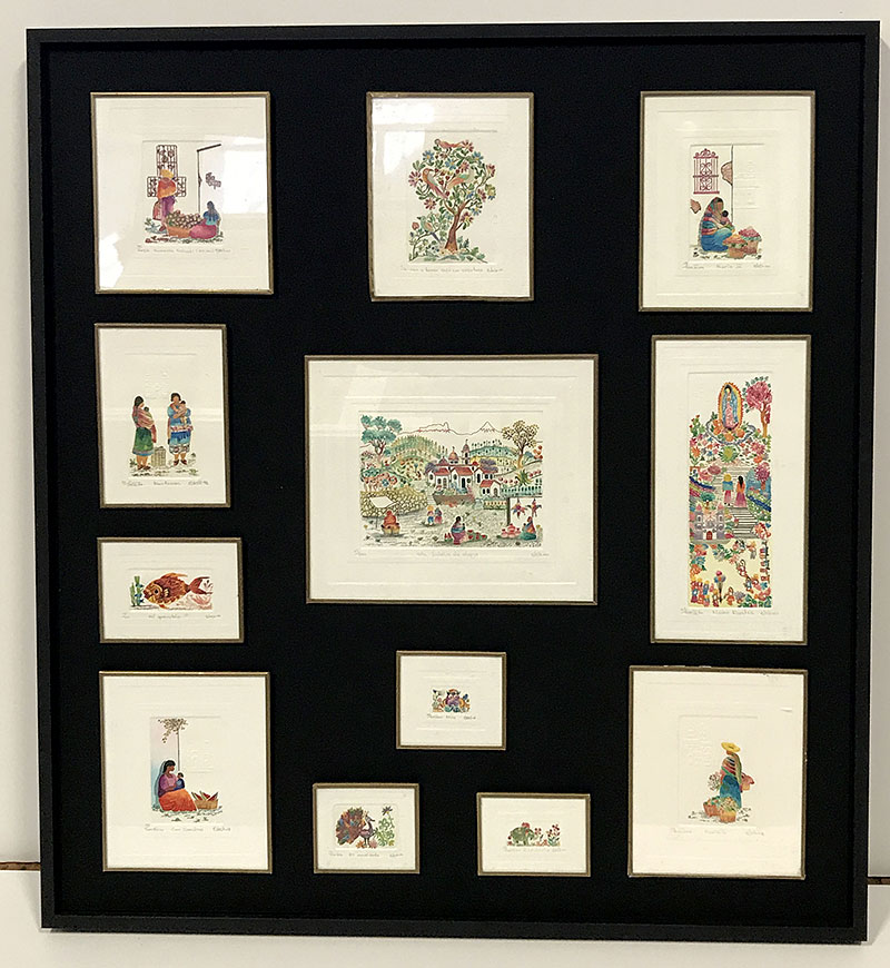 custom floater frame with original travel art from Peru