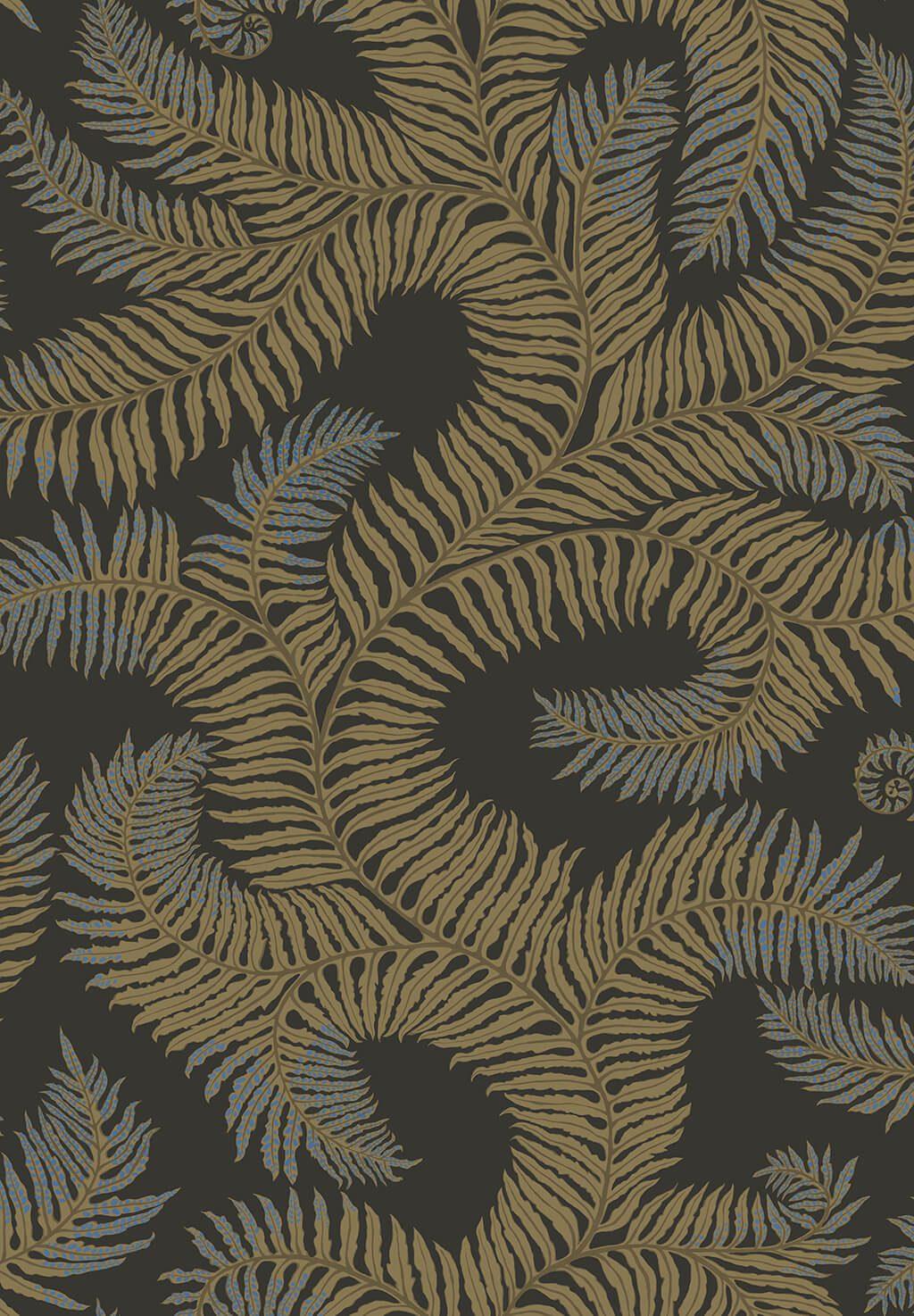 Designer Ferns Wallpaper   Olive & Dark Grey