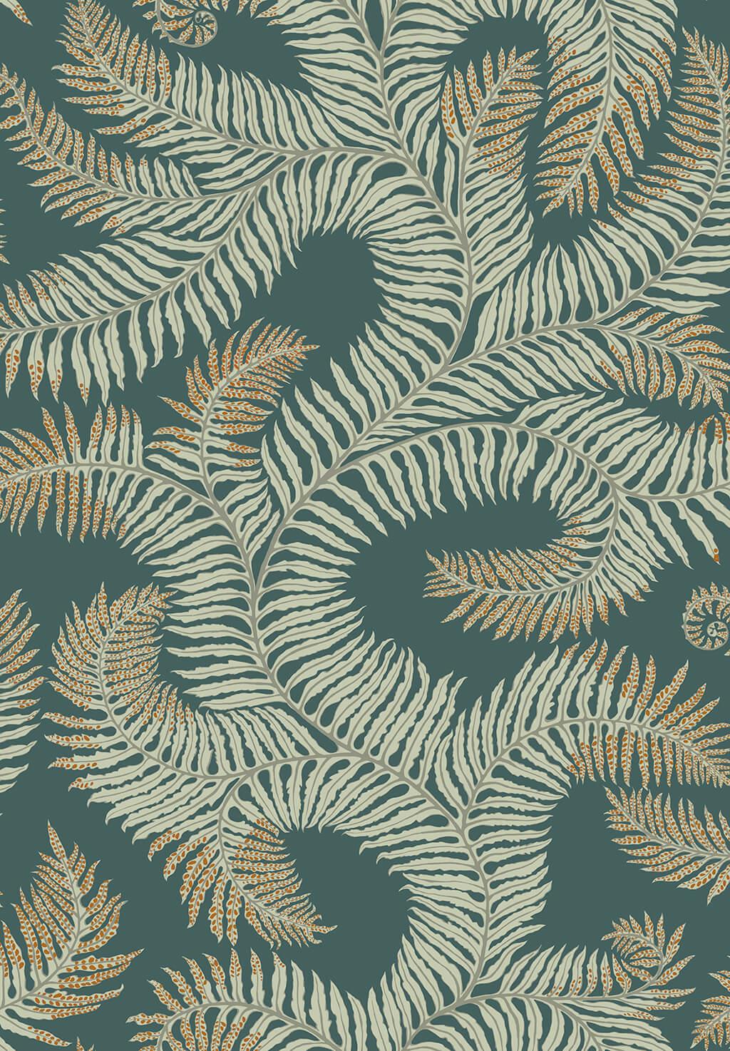 Designer Ferns Wallpaper | Teal & Orange Highlights
