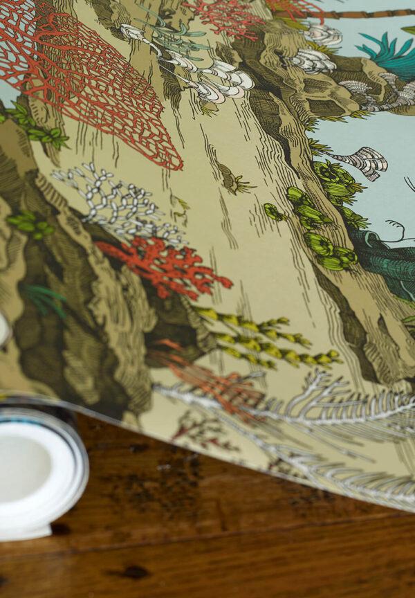 Designer Underwater Wallpaper | Soft Aqua & Coral
