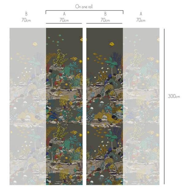 Designer Underwater Wallpaper | Graphite & Jewel Highlights
