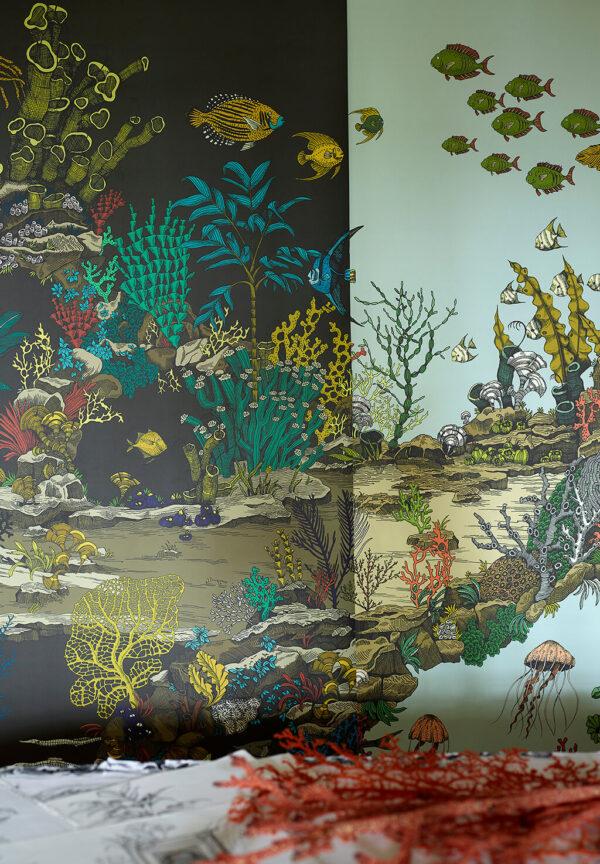 Designer Underwater Wallpaper | Graphite & Jewel Highlights | Soft Aqua & Coral