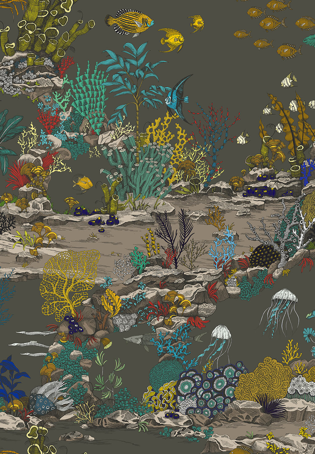 Designer Underwater Wallpaper   Graphite & Jewel Highlights