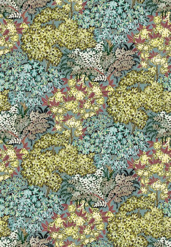 Canopy of Trees Designer Wallpaper | Celadon Olive Green & Deep Red