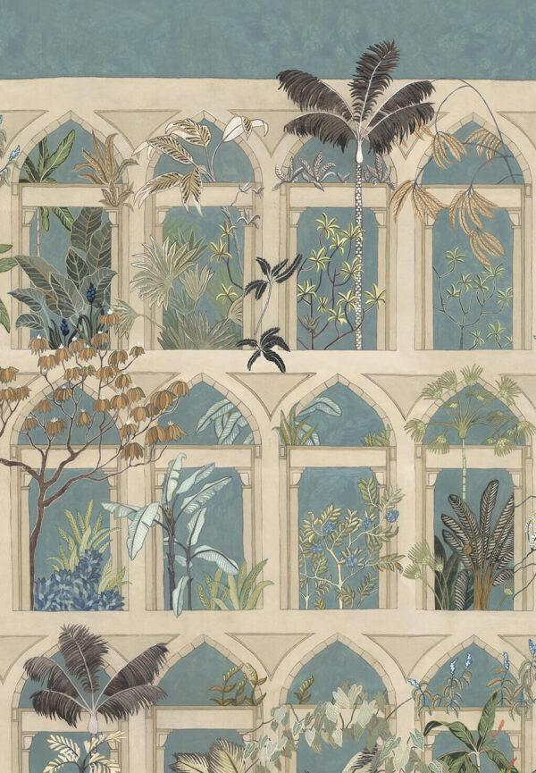 Designer Arches Wallpaper   Celadon & Stone