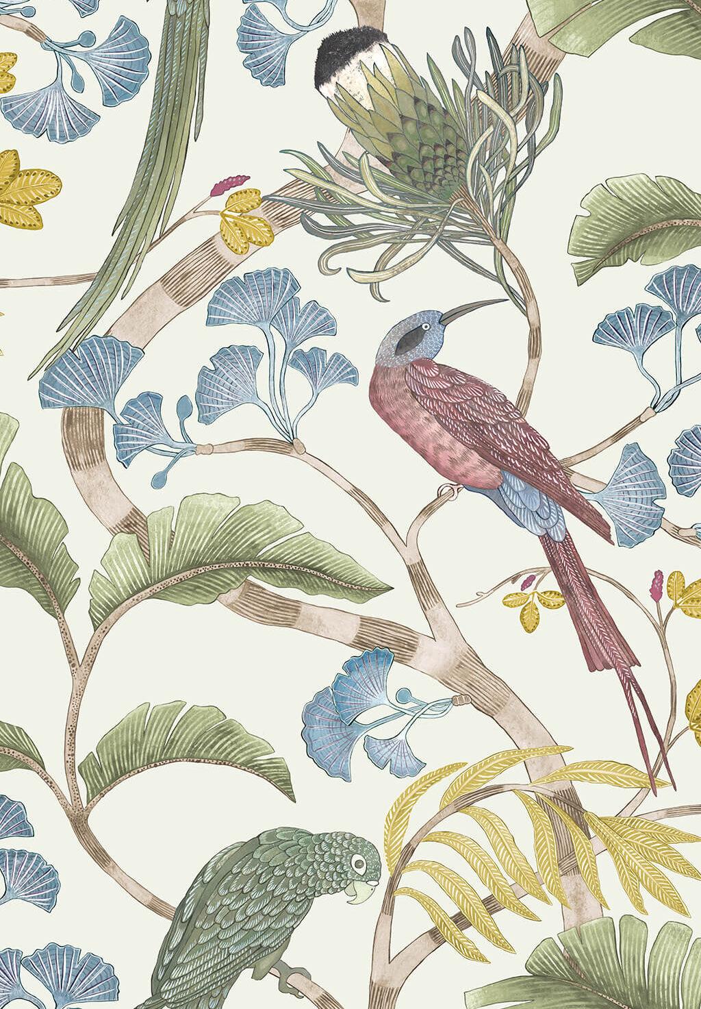 Designer Botanical Wallpaper   Ivory, Soft Olive & Yellow