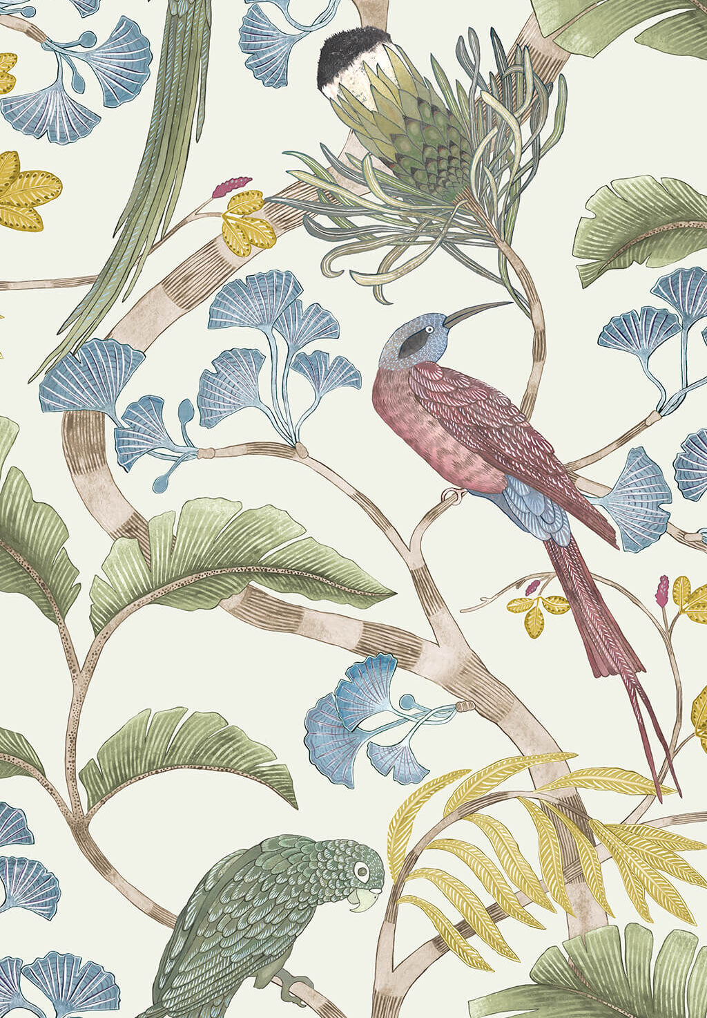 Designer Botanical Wallpaper | Ivory, Soft Olive & Yellow