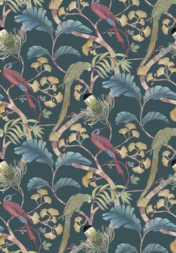 Designer Botanical Wallpaper | Dark Teal, Yellow and Olive