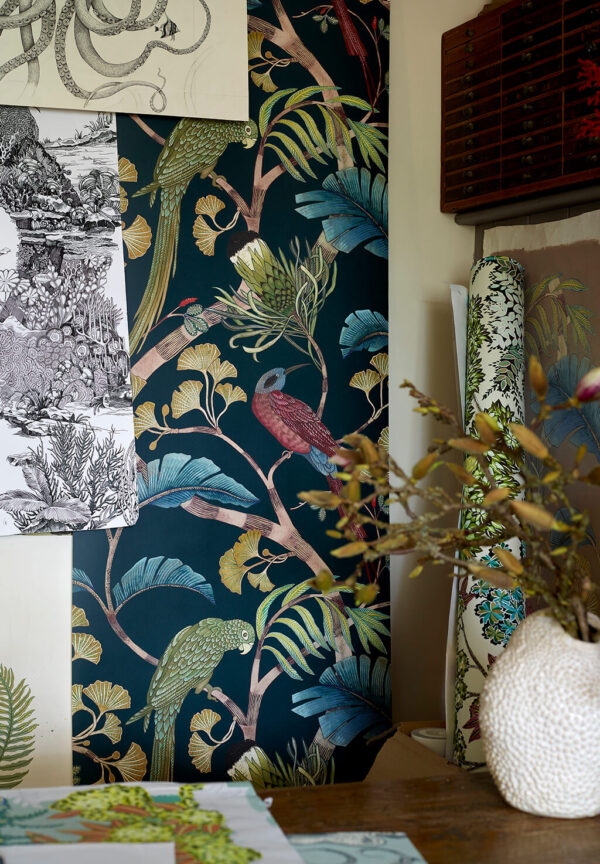 Designer Botanical Wallpaper | Dark Teal, Yellow & Olive