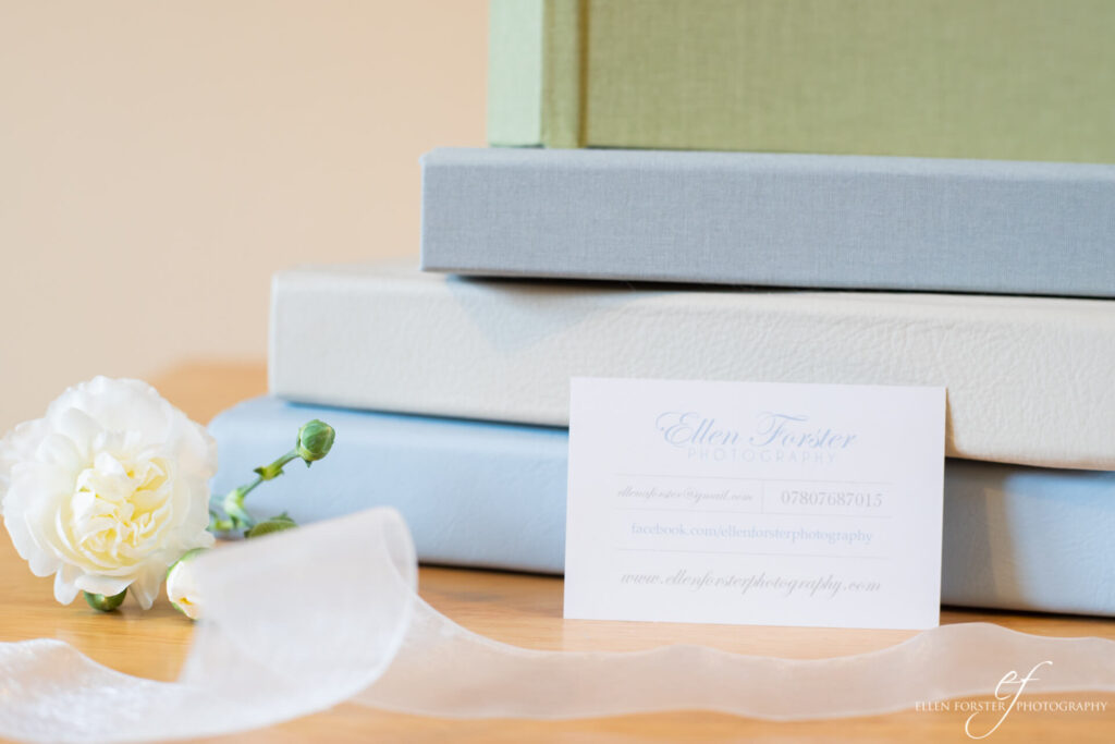 Linen and genuine leather wedding albums created by Ellen Forster Photography.