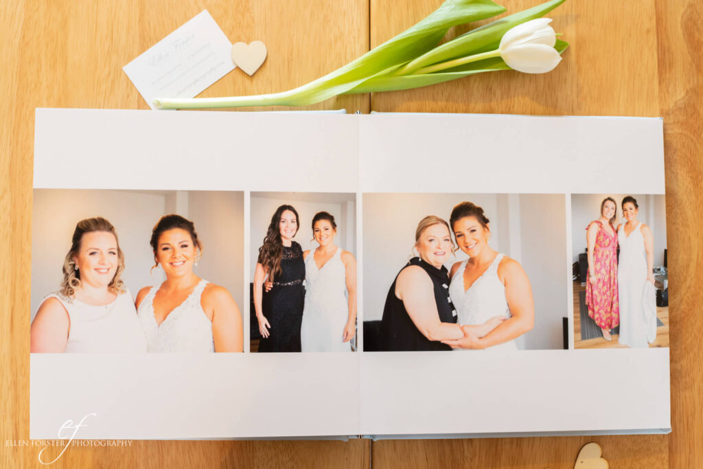 Wedding album showing the bride with her bridal party getting ready.