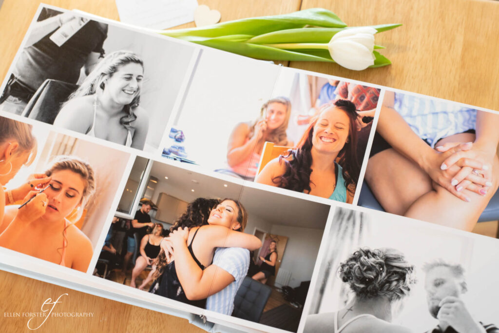 Double page spread in wedding album with photos of bridal party getting ready.