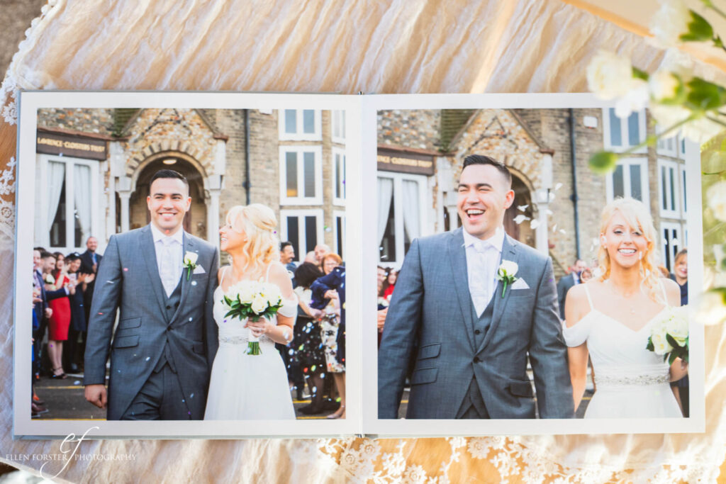 Double page spread wedding album with confetti shots outside The Cloisters in Letchworth.