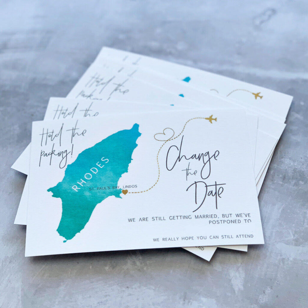 Change the date printed wedding cards by Clare Gray Designs.