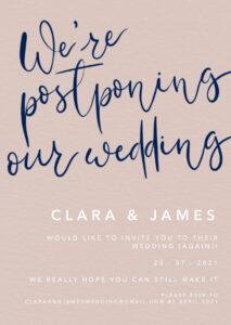 Postponing wedding digital invitation by Clare Gray Designs.