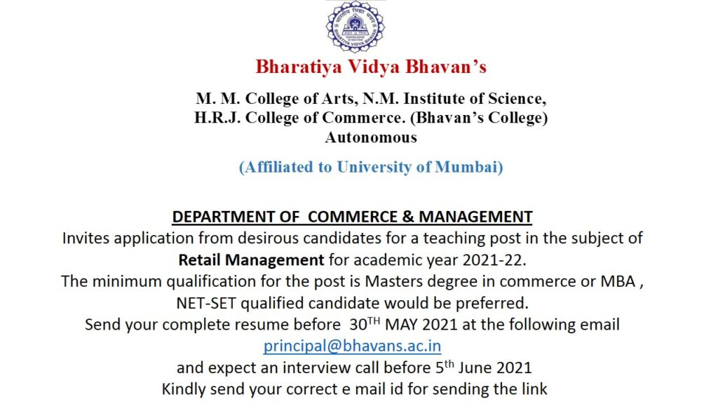 Invites Job application for Commerce & Management Department 20-21