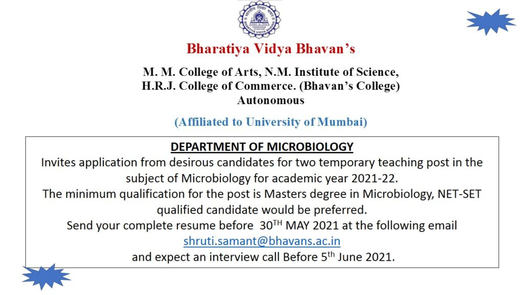 Invites Job application for Microbiology Department 20-21
