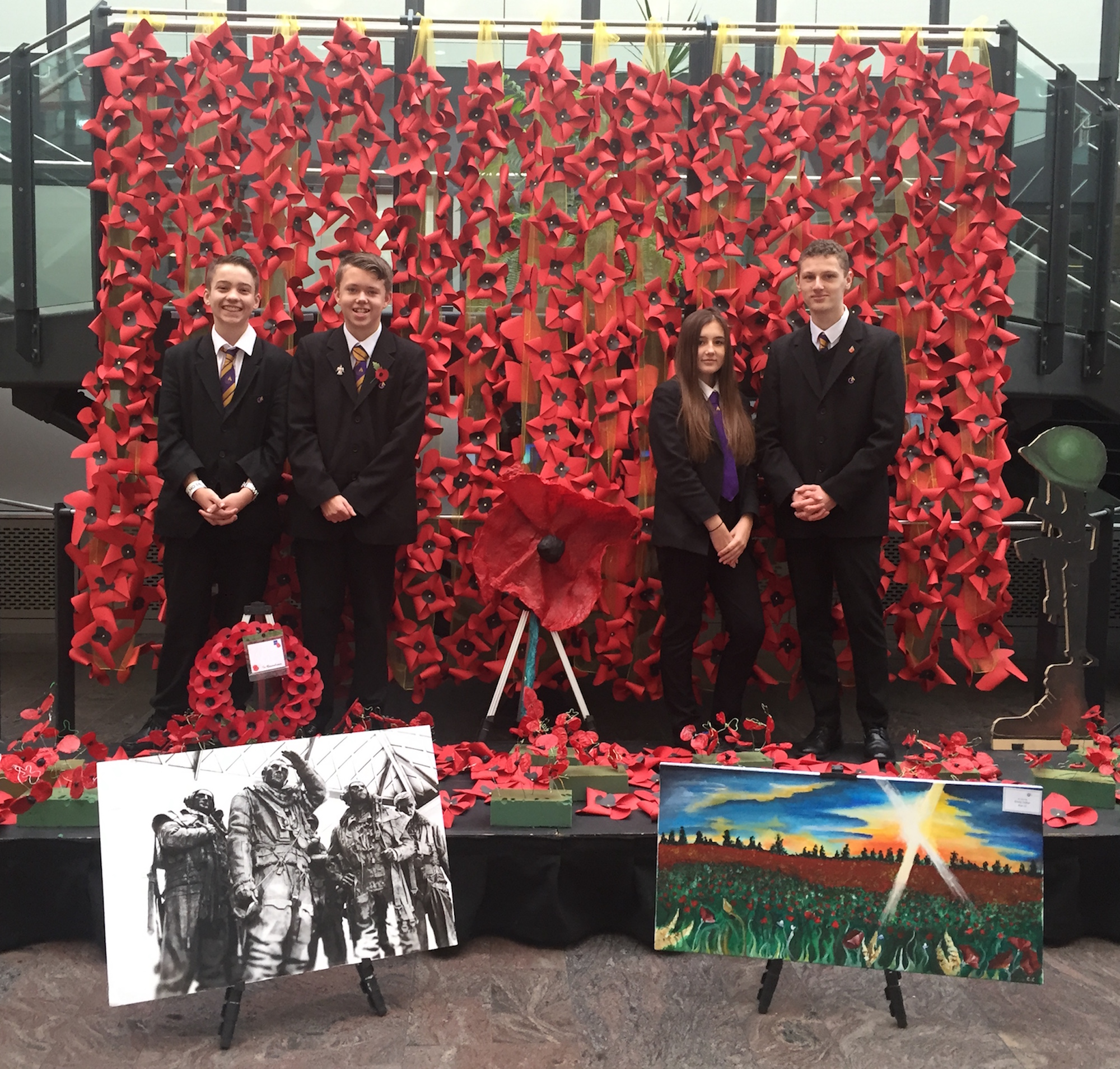 Cascade of poppies for Remembrance