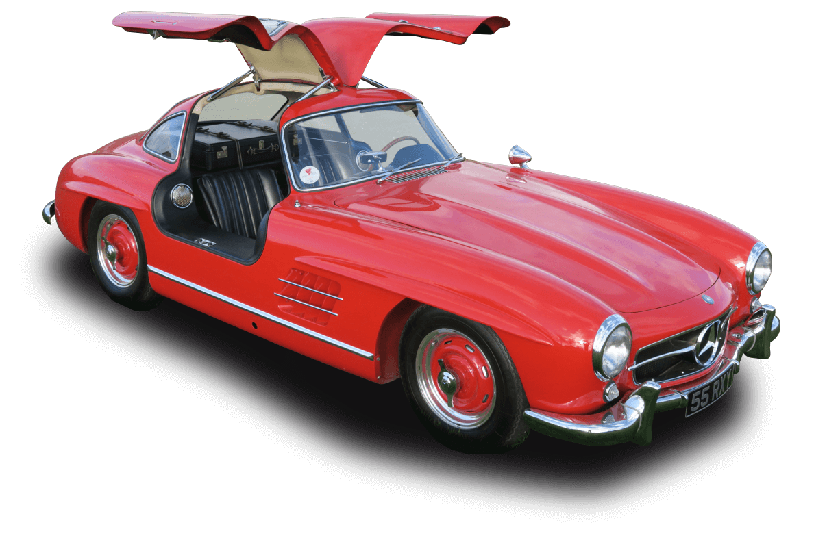 Image of a classic Mercedes, one of our restored cars