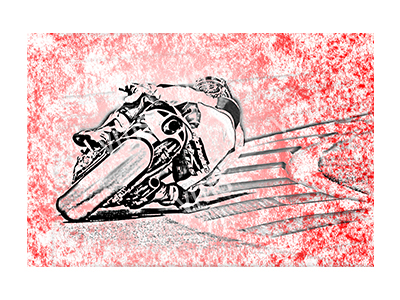 BSK001 – Bike Sketch Red – 18″x12″