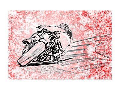 BSK003 – Bike Sketch Red – 36″x24″