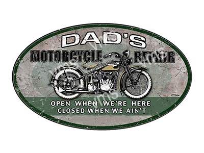 DAD008 – Dads MC Garage – 24″x14″ OVAL