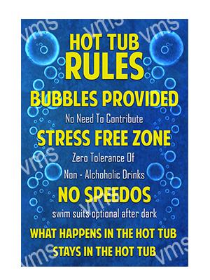 HHU007 – Hot Tub Rules – 12″x18″