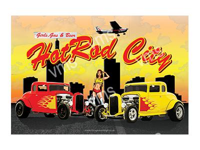 HR002 – Hot Rod City – 18″x12″