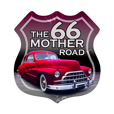 R66002 – The Mother Road Car Shield – 16″x16.5″