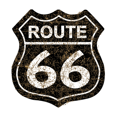 R66011 – Route 66 Shield Black – 16″x16.5″